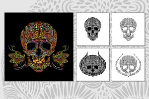 Set of decorative vector skulls