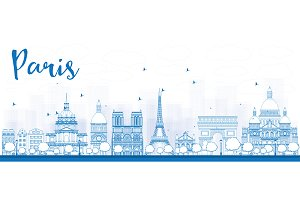 Outline Paris City Skyline