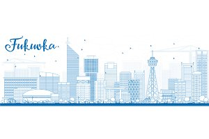 Outline Fukuoka City Skyline