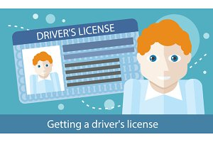 Cartoons Man with Driver License