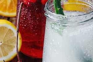 refreshing juice from fruits and aloe
