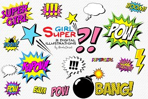 Super Girl - Comic Book Cliparts