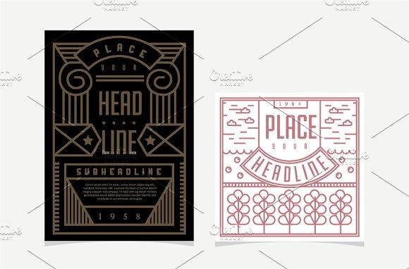 Line Art Card Design : Flat line art layout design template card templates on