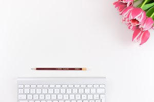 Pink Flower & keyboard. Hero Image.