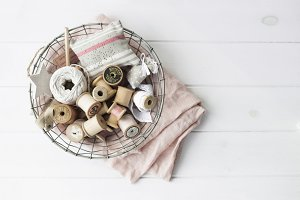 Vintage spools flat lay stock photo