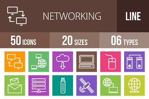 50 Networking Line Multicolor Icons