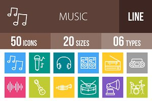50 Music Line Multicolor Icons
