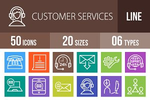 50 Customer Services Line Multicolor