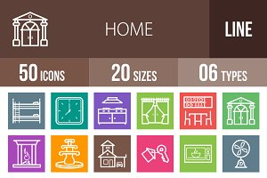 50 Home Line Multicolor Icons