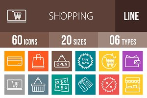 60 Shopping Line Multicolor Icons