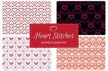 Stitch Hearts Seamless Patterns Set1