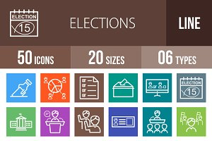 50 Elections Line Multicolor Icons