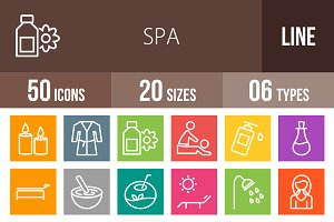 50 Spa Line Multicolor Icons
