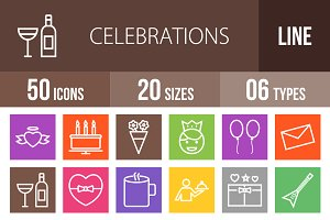 50 Celebration Line Multicolor Icons