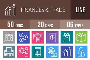 50 Finances & Trade Line Multicolor