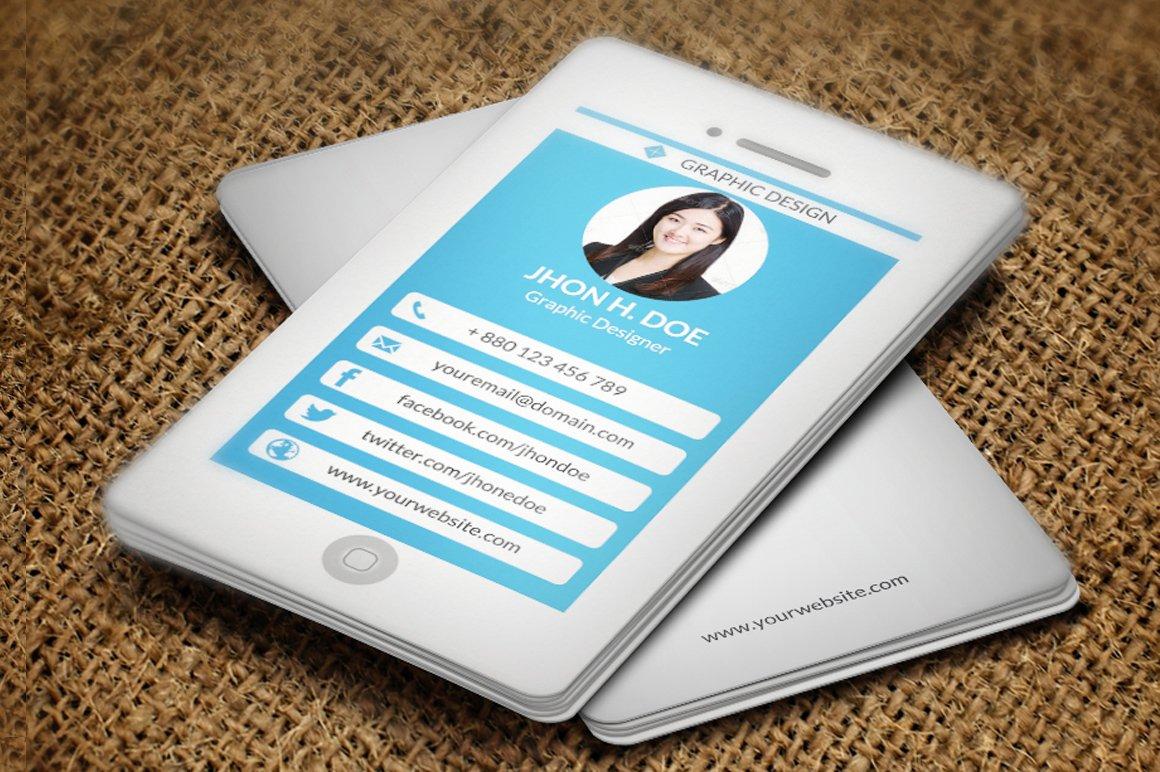 iPhone Style Business Card ~ Business Card Templates ~ Creative Market