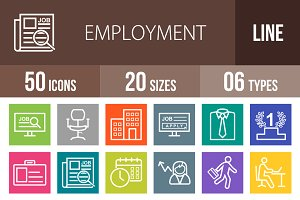 50 Employment Line Multicolor Icons