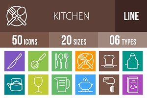 50 Kitchen Line Multicolor Icons