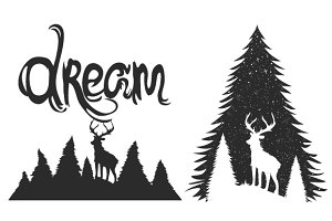 Deer dream typography set