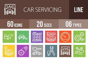 60 Car Servicing Line Multicolor