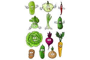 Happy healthy cartoon vegetables
