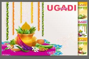 Happy Ugadi. Template greeting card