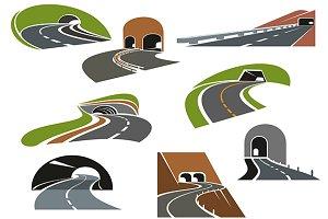 Road tunnels symbols