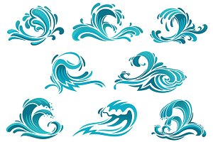 Blue sea waves and surf icons