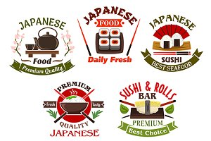 Japanese seafood icons and symbols