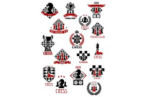 Chess game tournament emblems