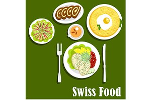 Swiss national cuisine breakfast
