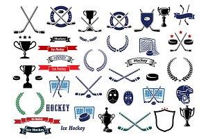 Ice hockey sport game icons