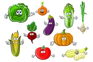Vector healthy veggies characters