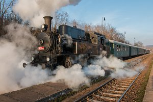 Steam train at the station