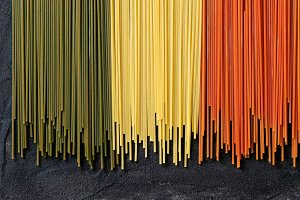 Dry colorful pasta spaghetti