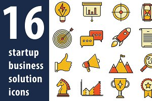 16 Startup business solution icons