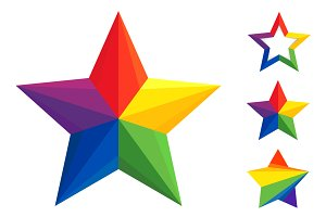 Vector colorful star logo set