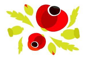 Red Poppy icons set