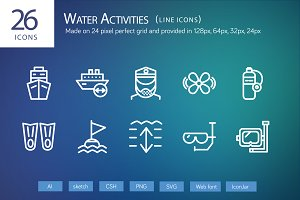 26 Water Activities Line Icons