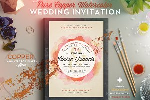 Pure CopperWatercolor Wedding Invite