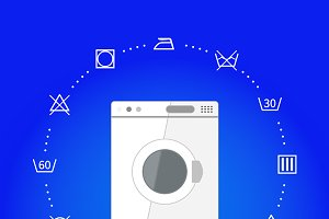 Wash machine with laundry icons