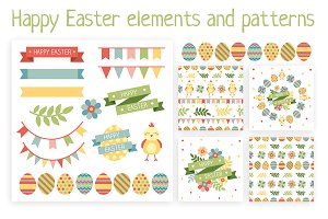 Happy easter elements and patterns