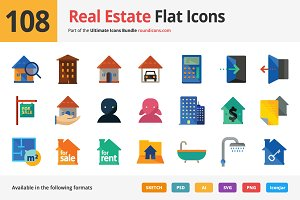 108 Real Estate Flat Icons