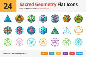 24 Sacred Geometry Flat Icons