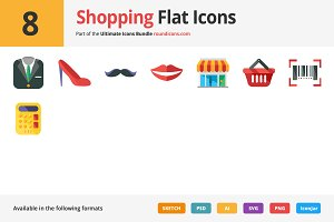 8 Shopping Flat Icons