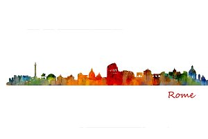 Rome Cityscape Watercolor Skyline
