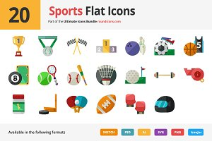 20 Sports Flat Icons