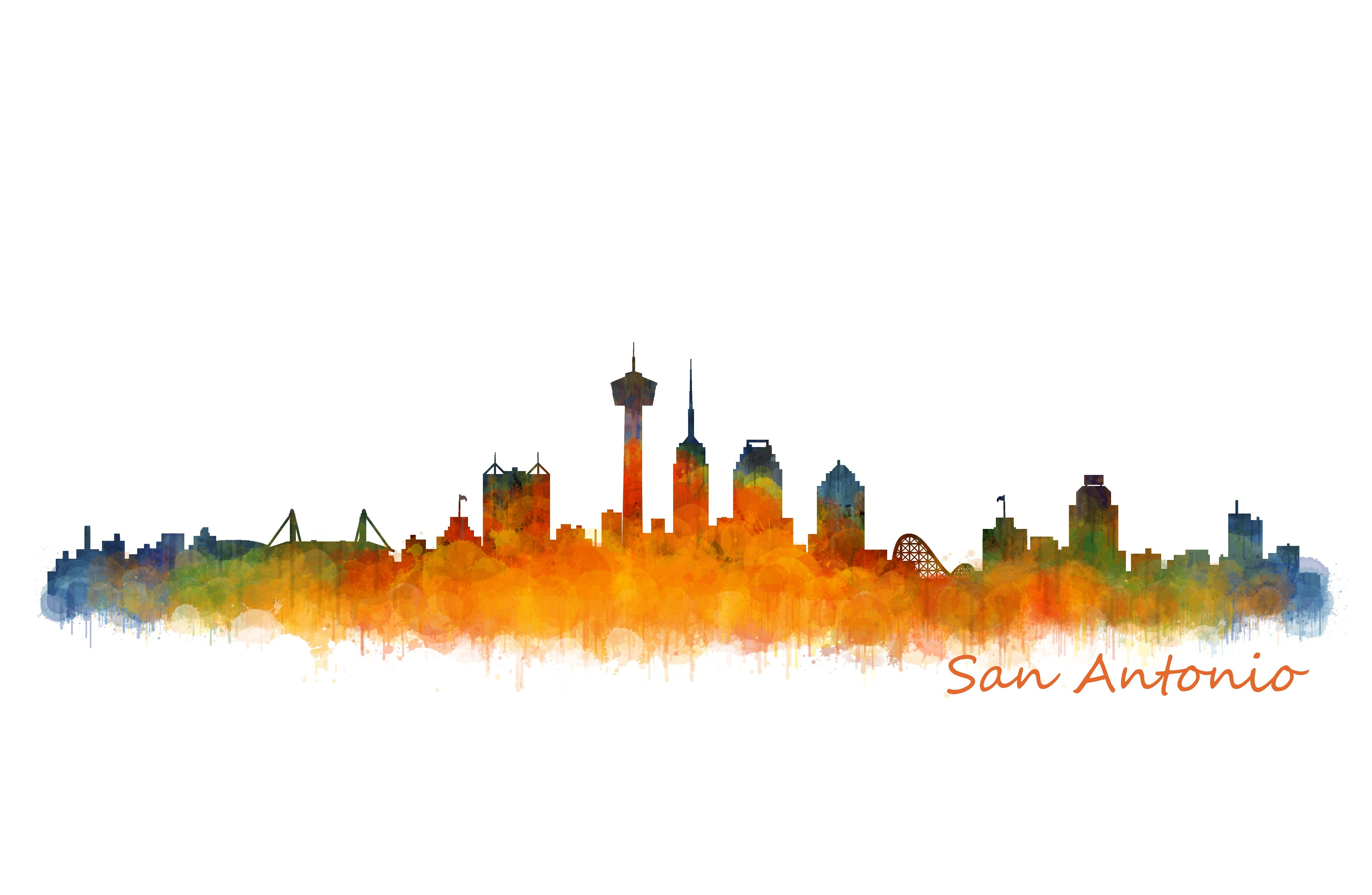 San Antonio Texas Cityscape Skyline Illustrations