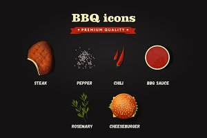 Realistic vector bbq icons set