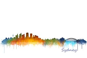Sydney cityscape watercolor skyline
